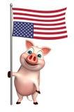 śliczny Świniowaty postać z kreskówki z flaga ilustracja wektor