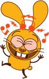 Śliczny żółty królik słucha muzyka i taniec ilustracji