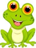 Śliczny żaby kreskówki obsiadanie Zdjęcia Stock