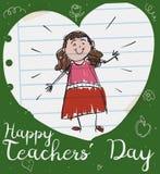 Śliczny Żeński pedagog w sercu papier dla nauczyciela ` dnia, Wektorowa ilustracja ilustracja wektor