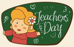 Śliczny Żeński pedagog z kwiat odświętności nauczycieli ` dniem, Wektorowa ilustracja ilustracji