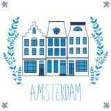 Śliczny Amsterdam mieści kolorowego set Obraz Stock
