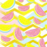 Śliczny arbuza wzór odizolowywający na abstrakcjonistycznym złocistym geometrycznym tle Zdjęcie Royalty Free