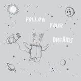 Śliczny astronauta plakat ilustracji