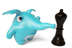 Śliczny błękitny kreskówka słoń i szachy, 3D ilustracja Obraz Royalty Free