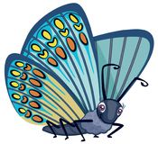Śliczny Błękitny Monarchiczny motyl z punktami i Dużego oko kreskówki stylu charakteru Wektorową ilustracją Odizolowywającą na bi Fotografia Royalty Free