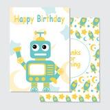 Śliczny błękitny robot na rakietowym tle stosownym dla urodzinowej zaproszenie karty ilustracji