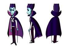 Śliczny błękitny twarz wampira Dracula Halloween charakter Fotografia Royalty Free