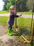 Śliczny berbeć z starą rolną bramą Zdjęcie Royalty Free