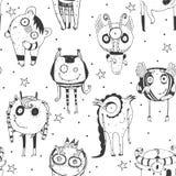 Śliczny bezszwowy doodle wzór z potworami, kropkami i gwiazdami na białym tle urocza ręka rysującymi, Wektorowa ilustracja z obcy ilustracji
