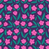 Śliczny bezszwowy pociągany ręcznie kwiecisty wzór z różowym jabłkiem lub wiśnią kwitnie na czarnym tle Fotografia Royalty Free