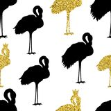 Śliczny Bezszwowy Różowy flaminga wzór na białym tle zdjęcie stock