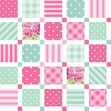 Śliczny bezszwowy rocznika wzór jako patchwork w podławym szyka stylu ideale dla kuchennej tkaniny lub łóżkowej pościeli tkanin ilustracja wektor