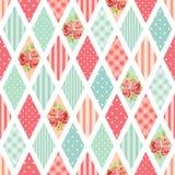 Śliczny bezszwowy rocznika wzór jako patchwork w podławym szyka stylu ideale dla kuchennej tkaniny lub łóżkowej pościeli tkanin royalty ilustracja