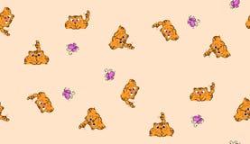 Śliczny bezszwowy tło z śmiesznymi kotami w kreskówka stylu Fotografia Stock
