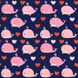 Śliczny bezszwowy wektoru wzór z różowymi wielorybami Obrazy Royalty Free