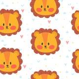 Śliczny bezszwowy wzór dla dzieci z lwem Uśmiechów charaktery Zdjęcia Stock