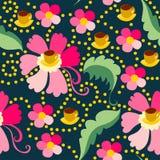 Śliczny bezszwowy wzór różowi kwiaty Fotografia Royalty Free