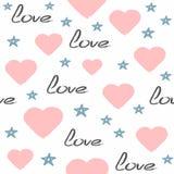 Śliczny bezszwowy wzór rysujący ręcznie z szorstkim muśnięciem Częstotliwi serca, gwiazdy, ręcznie pisany tekst miłość ilustracji
