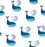Śliczny bezszwowy wzór z dekoracyjnymi wielorybami Wektorowy dekoracyjny morski tło Obraz Stock
