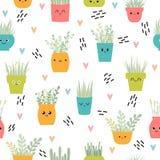 Śliczny bezszwowy wzór z dom roślinami w garnkach tła projekta kwiecisty twój fotografia stock