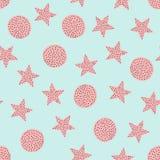 Śliczny bezszwowy wzór z gwiazdami i okręgami rysującymi ręką Nakreślenie, Doodle Zdjęcie Stock