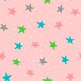 Śliczny bezszwowy wzór z kolorowymi gwiazdami i polek kropkami Rysujący ręką Obraz Stock