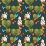 Śliczny bezszwowy wzór z królikami i krzak w formie serca Lato jaskrawy z kolorowymi motylami ilustracja wektor
