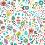 Śliczny bezszwowy wzór z kwiatami ilustracja wektor