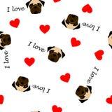 Śliczny bezszwowy wzór z mopsa psem, tekst przejrzysty tło, kocham i czerwony serce ilustracja wektor