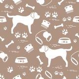 Śliczny bezszwowy wzór z psią sylwetką, puchar, ślada, kość, b ilustracja wektor