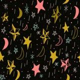 Śliczny bezszwowy wzór z ręki rysować gwiazdami i księżyc Editable ilustracja Być może ilustracja wektor