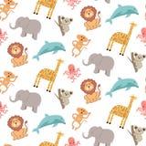 Śliczny bezszwowy wzór z zwierzętami: słoń, żyrafa, lew, małpa, koala, delfin i ośmiornica, royalty ilustracja