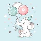 Śliczny biały dziecko słoń trzyma bagażnika balony Dziecko prysznic zaproszenia karta royalty ilustracja