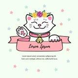 Śliczny biały kot z kwiatu wiankiem royalty ilustracja