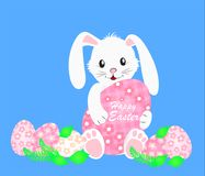 Śliczny biały królik i kolorowi Wielkanocni jajka również zwrócić corel ilustracji wektora ilustracji