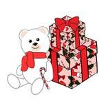 Śliczny biały niedźwiadkowy lisiątko i prezenty, wektor ilustracja wektor
