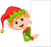 Śliczny boże narodzenie elfa kreskówki wskazywać Obrazy Royalty Free