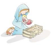 śliczny Bożego Narodzenia narodzenie jezusa ilustracja wektor