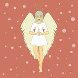 Śliczny Bożenarodzeniowy anioł z świeczką Fotografia Stock