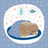 Śliczny Bożenarodzeniowy kota kartka z pozdrowieniami royalty ilustracja