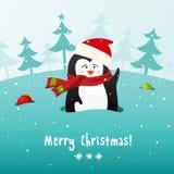 Śliczny Bożenarodzeniowy pingwin. Wektorowy tło. ilustracji