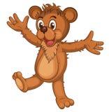 Śliczny brown kreskówka niedźwiedź Odosobniony Roześmiany niedźwiedź podnosi jego ręki wektor Zdjęcie Stock