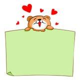 Śliczny brown niedźwiedź cieszy się je puste miejsce deskę ilustracji