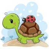 Śliczny Cartonn żółw z biedronką royalty ilustracja