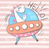 Śliczny, chłodno, ładny, śmieszny, szalony, piękny Dino charakter, UFO ilustracja royalty ilustracja