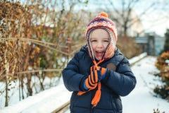 Śliczny chłopiec chodzić plenerowy w zima czasie bawić się śnieg ilustracyjny dzieciak Fotografia Royalty Free