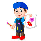 Śliczny chłopiec obraz z paintbrush Obrazy Stock
