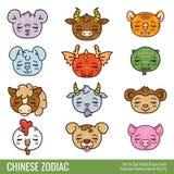 Śliczny Chiński zodiak również zwrócić corel ilustracji wektora ilustracja wektor
