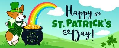 Śliczny corgi pies w leprechaun kostiumu z garnkiem złoto, tęcza, niebieskie niebo i zieleni wzgórza, Szczęśliwy St Patrick dzień obraz royalty free